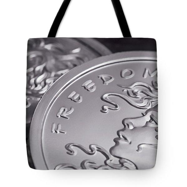 Silver Bullion Freedom Girl Tote Bag by Tom Mc Nemar