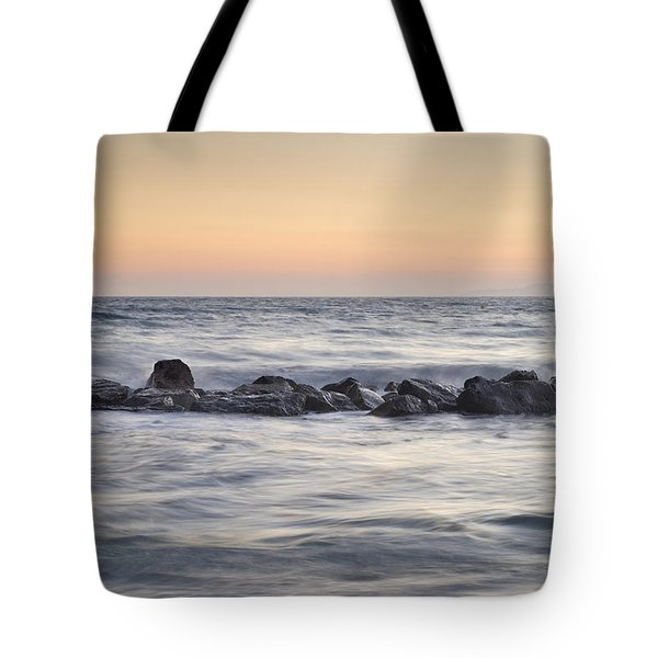 Silver Sea At Sunset Tote Bag by Guido Montanes Castillo