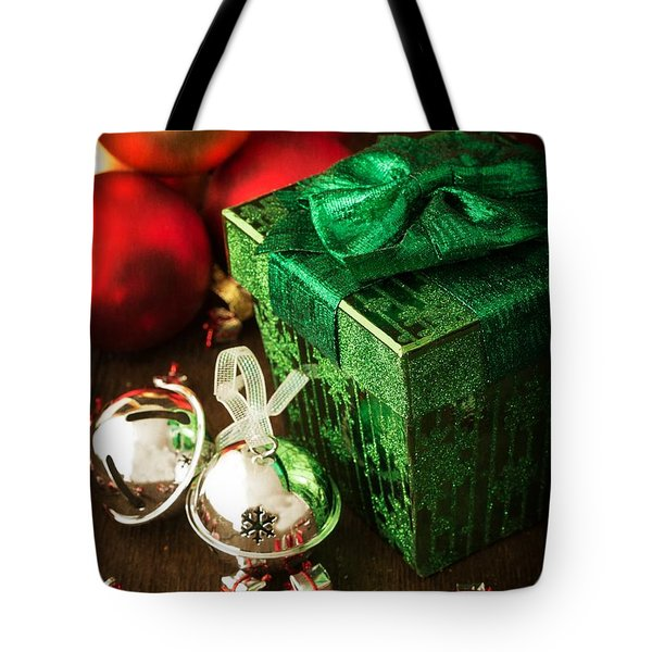 Silver Sleigh Bells Tote Bag by Edward Fielding