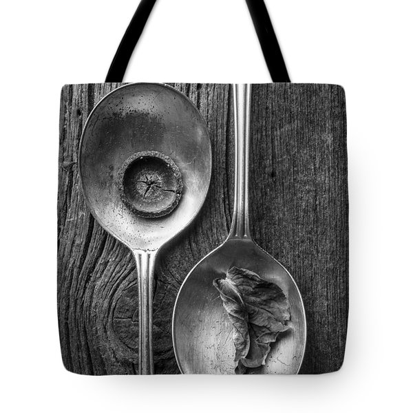 Silver Spoons Black and White Tote Bag by Edward Fielding