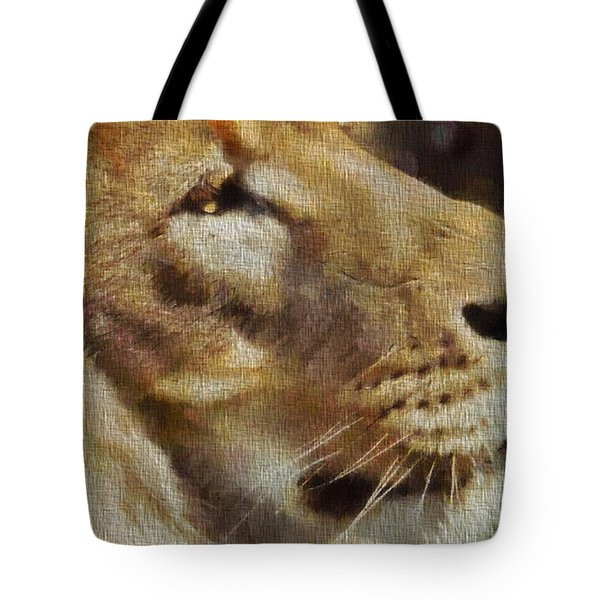 Simba portrait on canvas tote bag by dan sproul