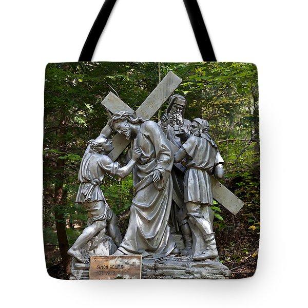 Simon Helps Jesus Tote Bag by Terry Reynoldson