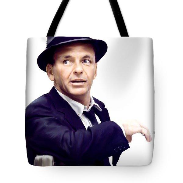 Sinatra.  Frank Sinatra Tote Bag by Iconic Images Art Gallery David Pucciarelli