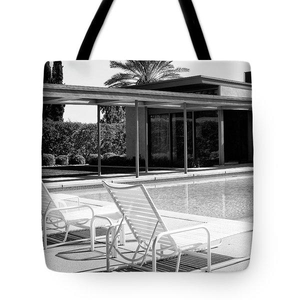 SINATRA POOL BW Palm Springs Tote Bag by William Dey