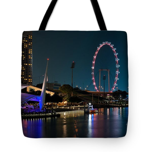 Singapore Flyer At Night Tote Bag by Rick Piper Photography