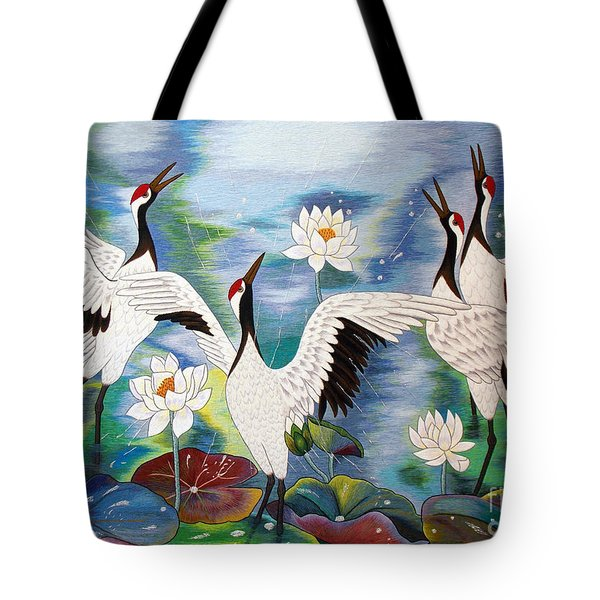 Singing In The Rain Hand Embroidery Tote Bag by To-Tam Gerwe