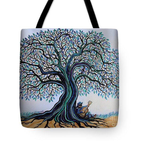 Singing Under The Blues Tree Tote Bag by Nick Gustafson