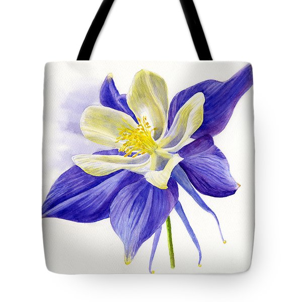 Single Blue Columbine Tote Bag by Sharon Freeman