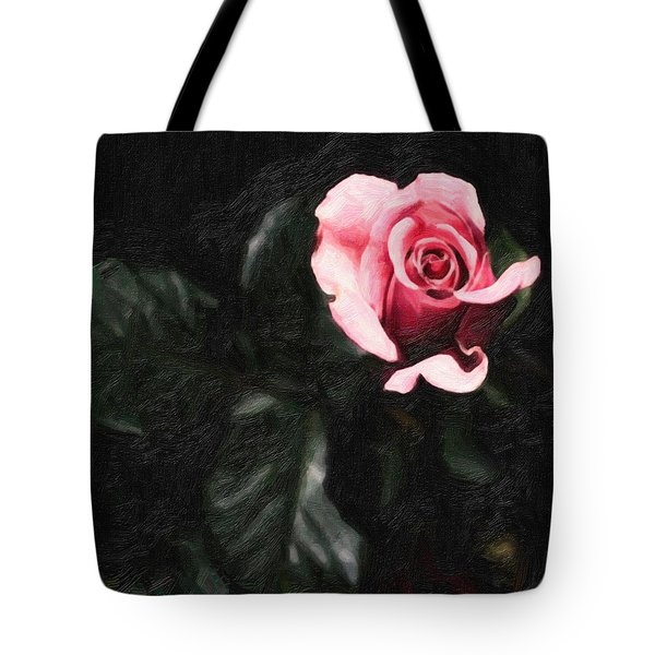 Single Pink Rose Tote Bag by MotionAge Designs