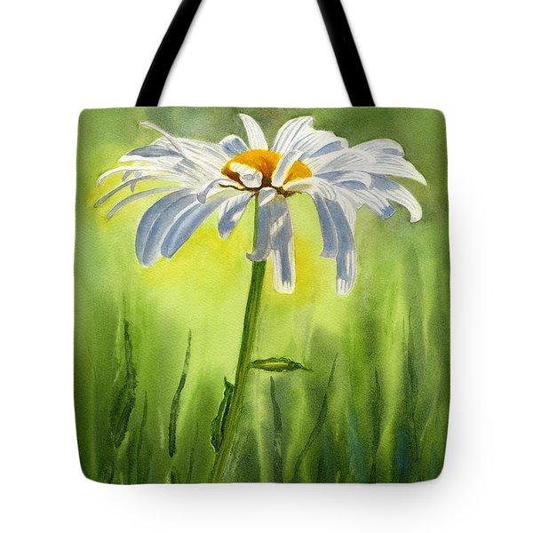 Single White Daisy  Tote Bag by Sharon Freeman