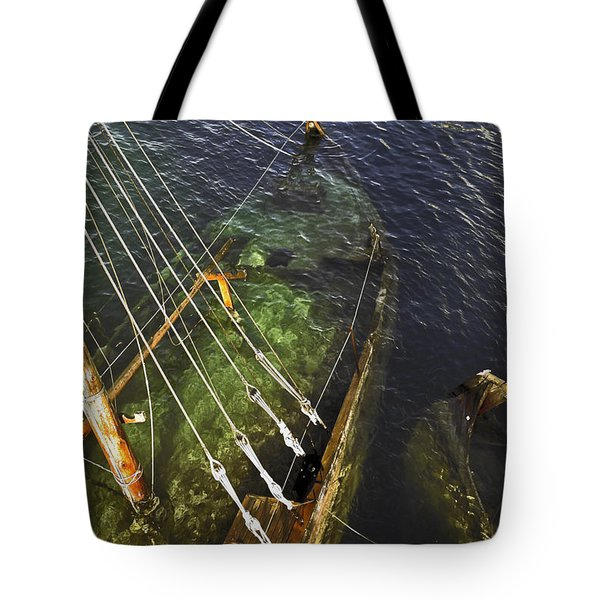 Sinking Sailboat Tote Bag by Sally Weigand