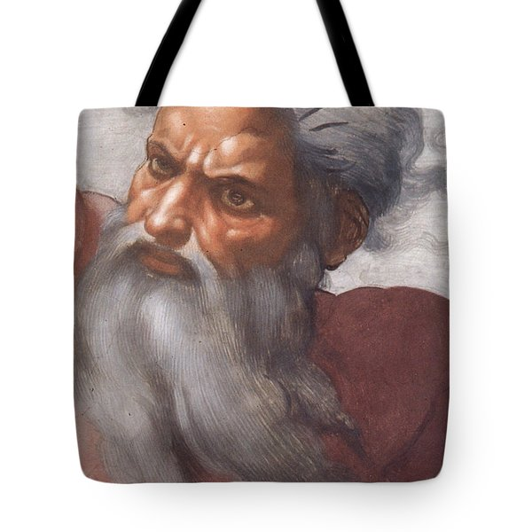 Sistine Chapel Ceiling Creation Of The Sun And Moon Tote Bag by Michelangelo Buonarroti