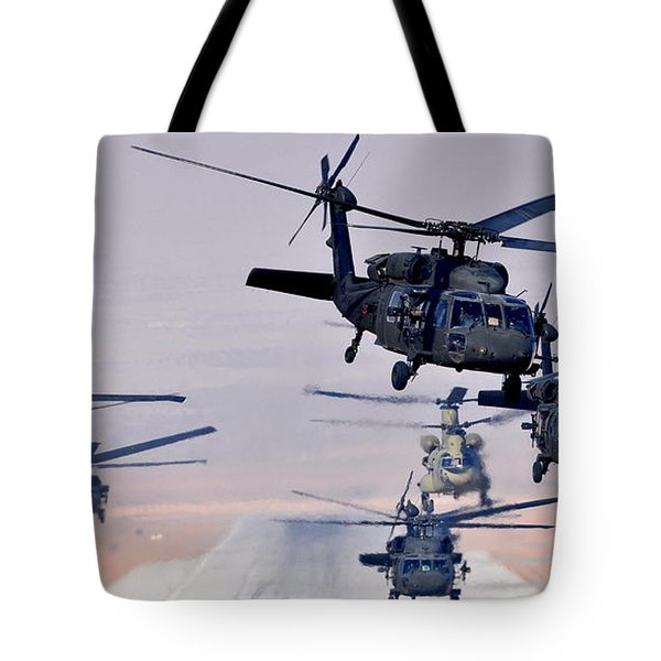 Six Uh-60l Black Hawks And Two Ch-47f Chinooks Tote Bag by Paul Fearn
