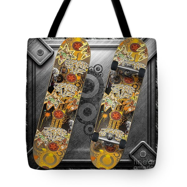 Skateboard Tote Bag by Mo T