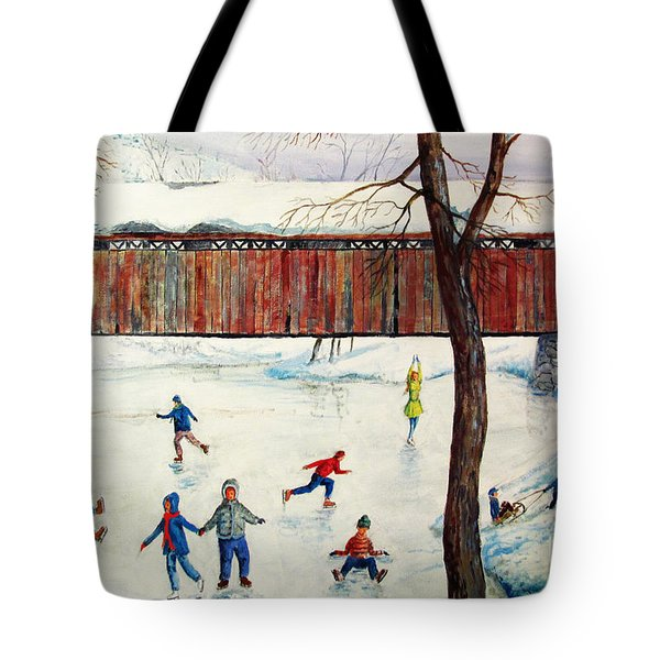 Skating At The Bridge Tote Bag by Philip Lee