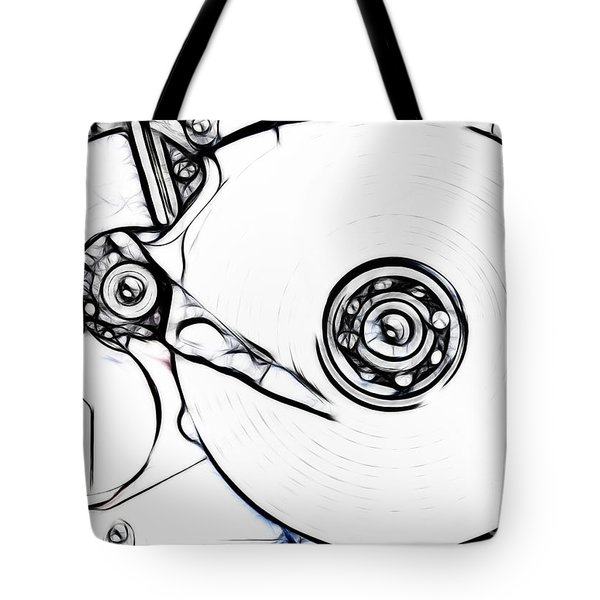 sketch of the hard disk Tote Bag by Michal Boubin