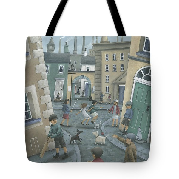 Skipping By The Green Door Tote Bag by Peter Adderley
