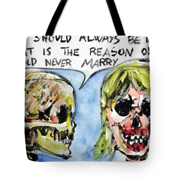 Skull Quoting Oscar Wilde.5 Tote Bag by Fabrizio Cassetta