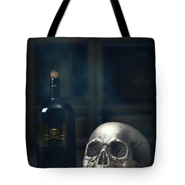 Skull With Poison Bottle Tote Bag by Amanda Elwell