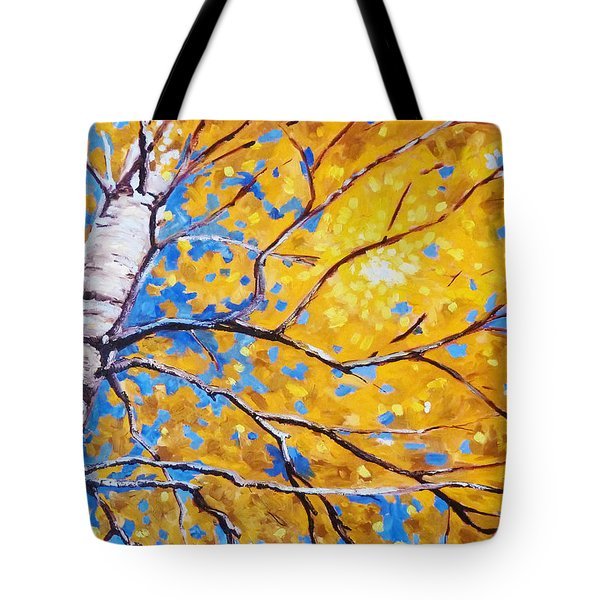 Sky Birch Tote Bag by Nancy Merkle