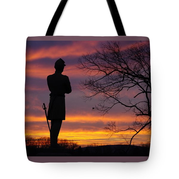 Sky Fire - 124th Ny Infantry Orange Blossoms-1a Sickles Ave Devils Den Sunset Autumn Gettysburg Tote Bag by Michael Mazaika