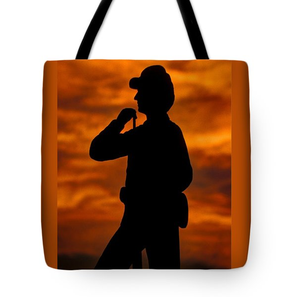 Sky Fire - Flames Of Battle 7th Pennsylvania Reserve Volunteer Infantry-a1 Sunset Antietam Tote Bag by Michael Mazaika