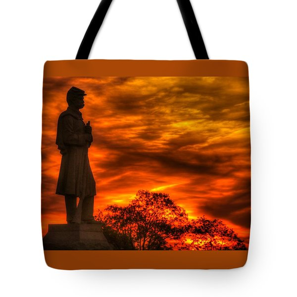Sky Fire - West Virginia At Gettysburg - 7th Wv Volunteer Infantry Vigilance On East Cemetery Hill Tote Bag by Michael Mazaika