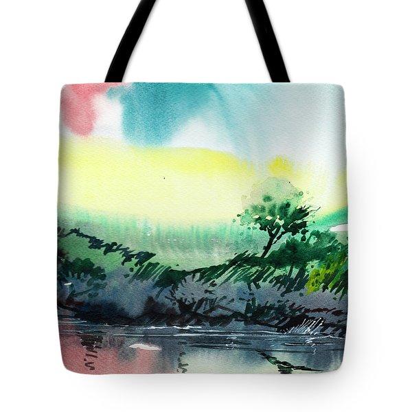 Sky N Lake Tote Bag by Anil Nene