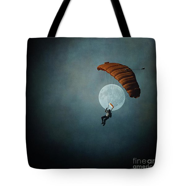 Skydiver's Moon Tote Bag by Trish Mistric