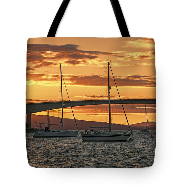 Skye Bridge Sunset Tote Bag by Chris Thaxter