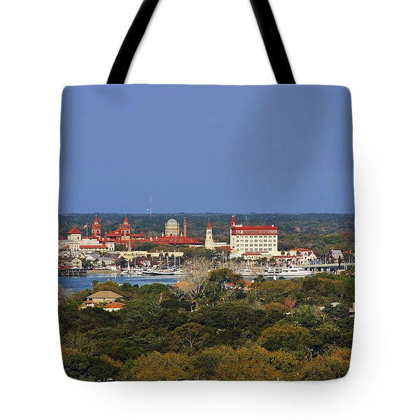 Skyline Of St Augustine Florida Tote Bag by Christine Till