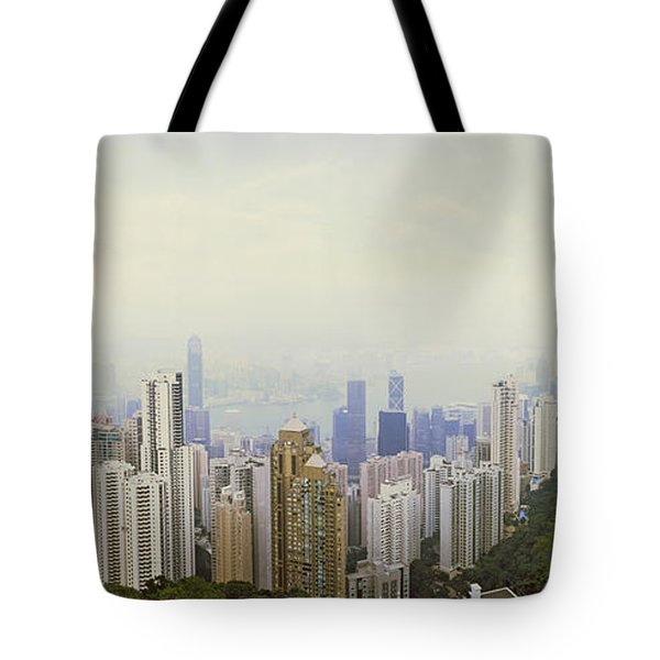 Skyscrapers In A City, Hong Kong, China Tote Bag by Panoramic Images