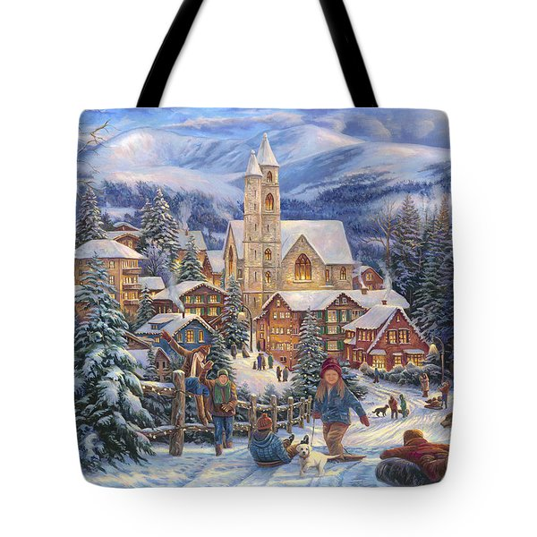 Sledding To Town Tote Bag by Chuck Pinson