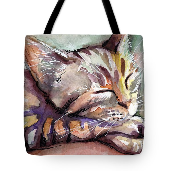 Sleeping Kitten Tote Bag by Olga Shvartsur