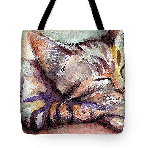 Sleeping Kitten Tote Bag by Olga Shvartsur