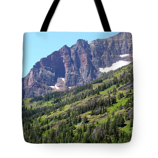 Sloping Mountain At Two Medicine Lake Tote Bag by Carol Groenen