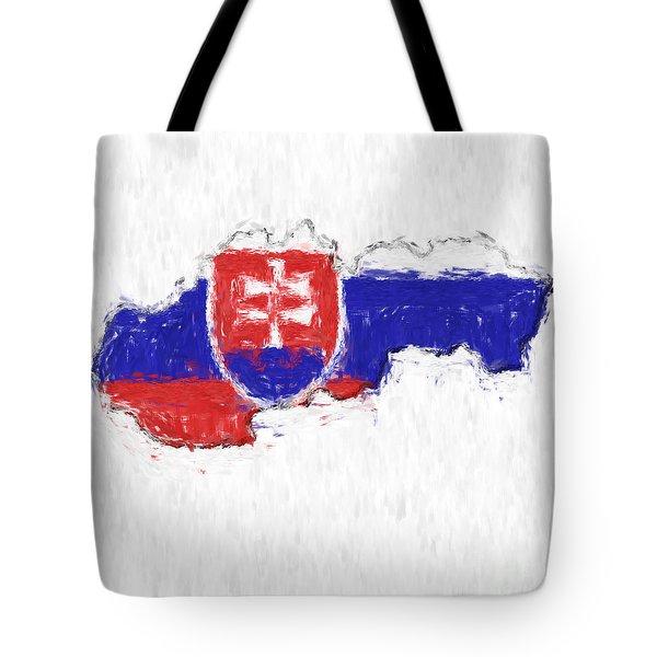 Slovakia Painted Flag Map Tote Bag by Antony McAulay