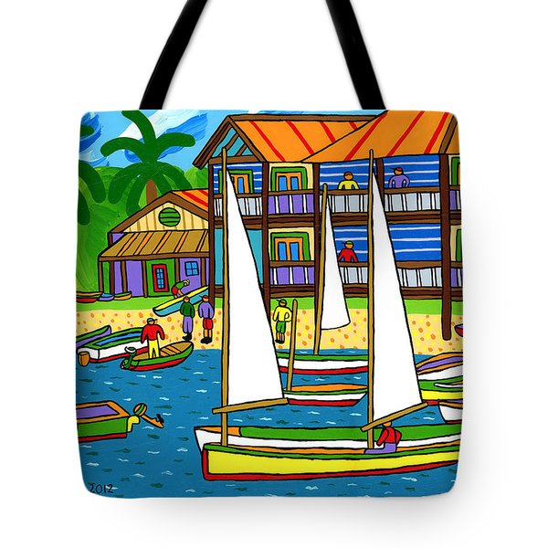 Small Boat Regatta - Cedar Key Tote Bag by Mike Segal