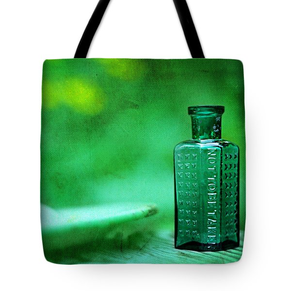 Small Green Poison Bottle Tote Bag by Rebecca Sherman