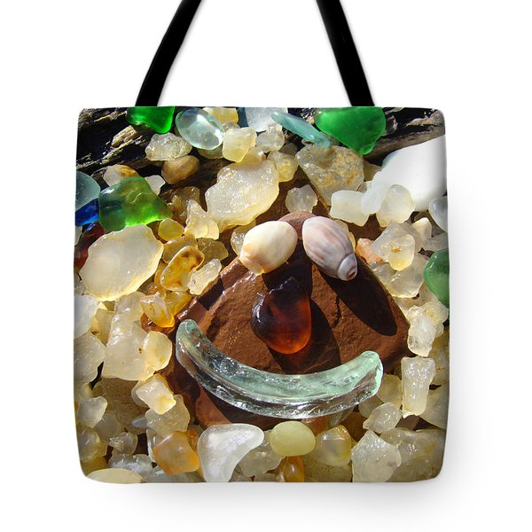 Smiley Face Art Prints Seaglass Shells Agates Beach Tote Bag by Baslee Troutman