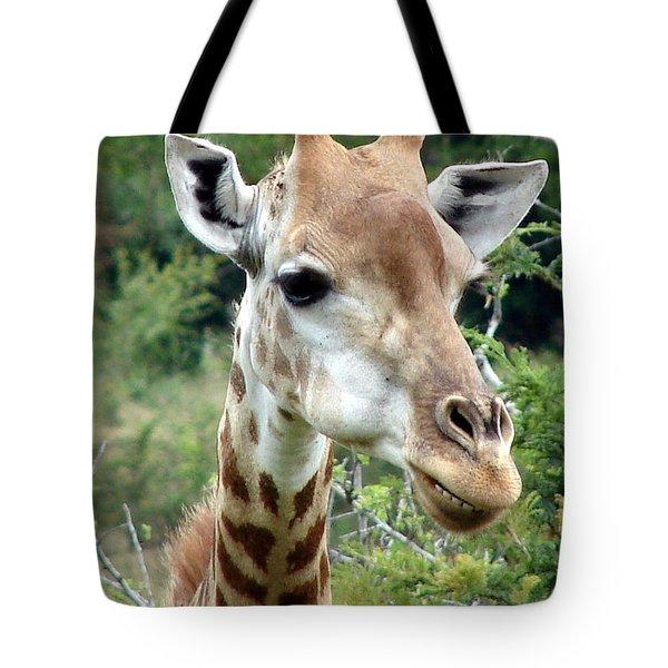 Smiling Giraffe Tote Bag by Ramona Johnston