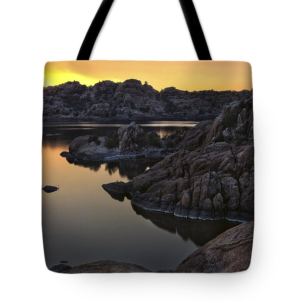Smoky Sunset on Watson Lake Tote Bag by Dave Dilli