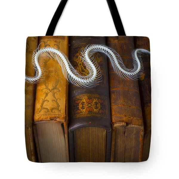 Snake And Antique Books Tote Bag by Garry Gay