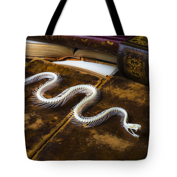 Snake Skeleton And Old Books Tote Bag by Garry Gay