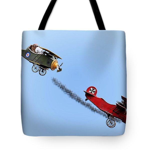 Snoopy And The Red Baron Tote Bag by Kristin Elmquist