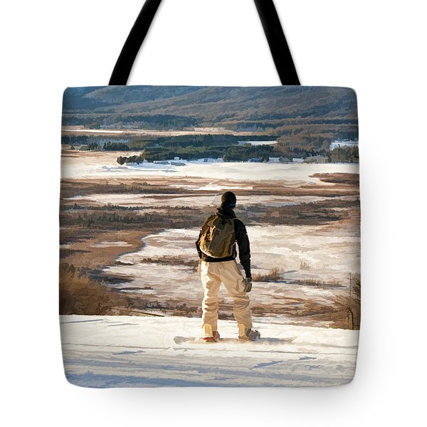 Snow Boarder Planning His Run Tote Bag by Dan Friend