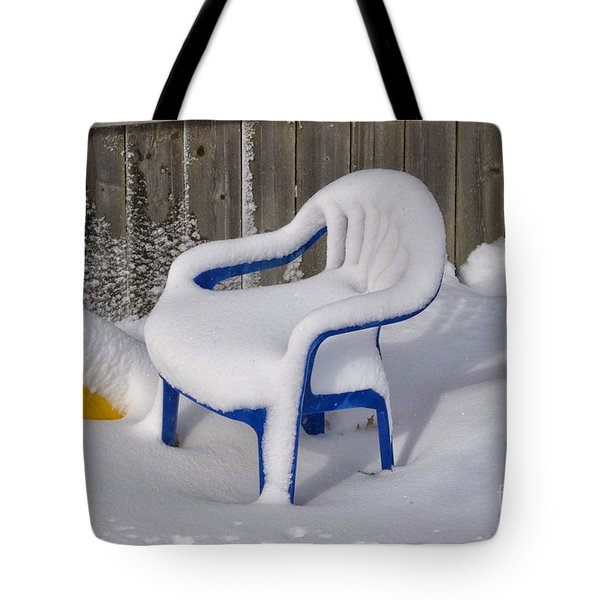 Snow Covered Chair Tote Bag by Thomas Woolworth