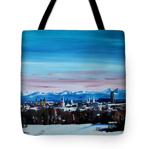 Snow Covered Munich Winter Panorama With Alps Tote Bag by M Bleichner