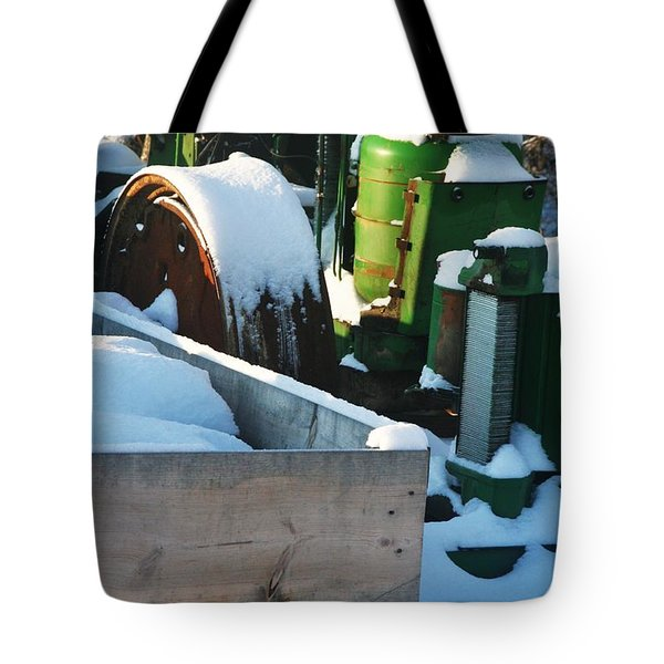 SNOW COVERED TRACTOR Tote Bag by PainterArtist FIN