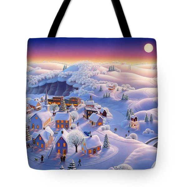 Snow Covered Village Tote Bag by Robin Moline